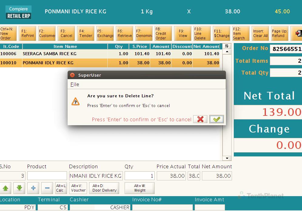 TenthPlanet_Compiere_Solutions_Retail_POS_Delete_Item_Line