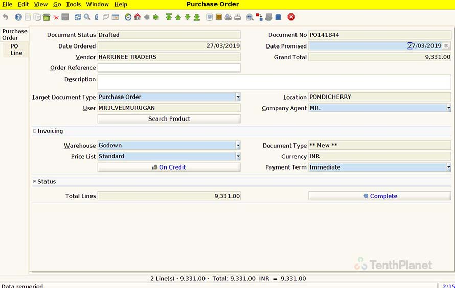 TenthPlanet_Compiere_Retail_Purchase_Management_Create_Purchase_Order